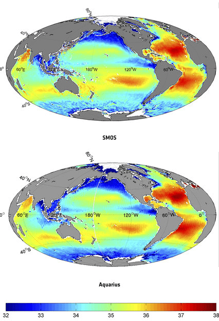 Global salinity maps from SMOS (top) and Aquarius (bottom). Source: IFREMER/ESR/ESA/NASA