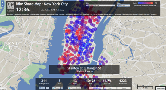 Bike share map for New York City.