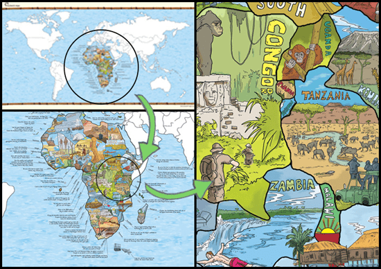 Bucketlist map by bearded German cartographers Simon Schuetz and Lars Sieffert.