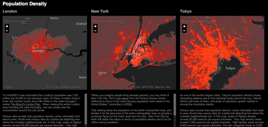 Comparison of population densities between London, New York, and Tokyo.