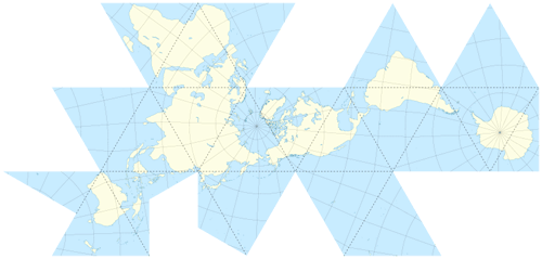 Dymaxion map projection gis lounge unfolded dymaxion map dashed lines indicate fold points by eric gaba 2009 gumiabroncs Images