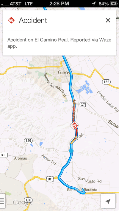 Waze traffic incidents on Google Maps.