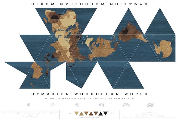 Dymaxion Woodocean World Nicole Santucci + Woodcut Maps