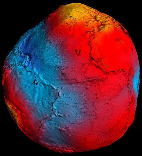 GOCE geoid model.  Source: ESA.