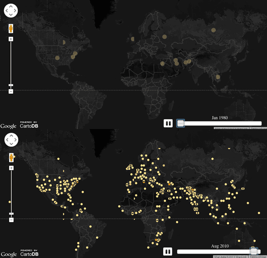 Global protests from 1979 - 2013.  Mapped by John Beieler from GDELT data.