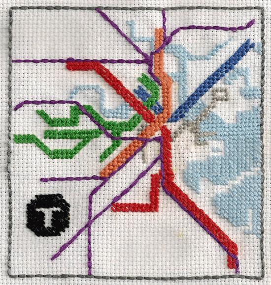 Needlepoint transit map.