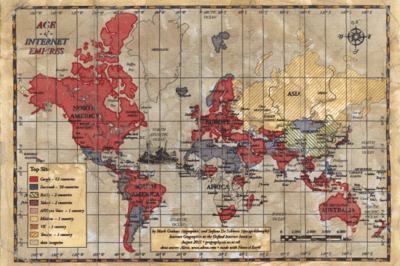 If Google and Facebook Were Empires: Age of Internet Map
