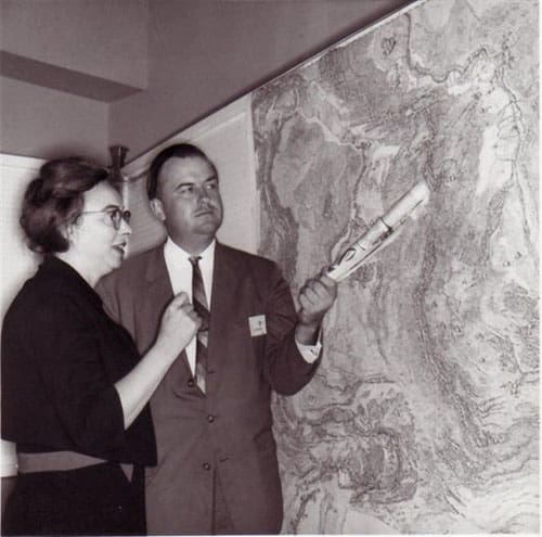 Marie Tharp with Bruce Heezen.