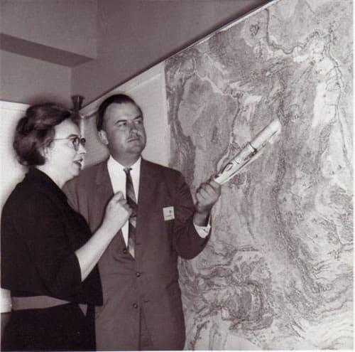 Marie Tharp with Bruce Heezen.