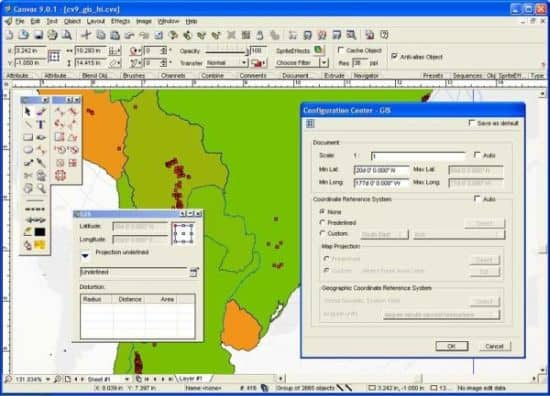 Canvas GIS Map software from 2003.