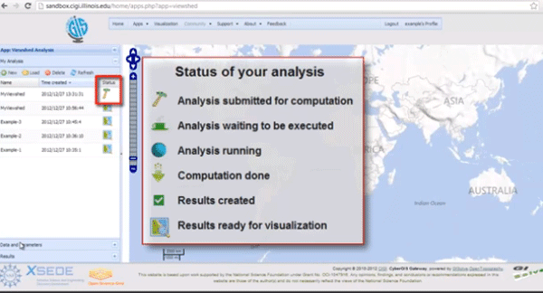 Screenshot from the CyberGIS Gateway's Viewshed Analysis web application.