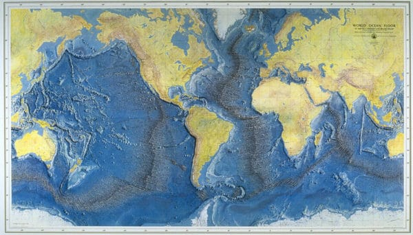 World Ocean Floor Panorama, 1977.  The map was painted by Austrian painter Heinrich Berann.