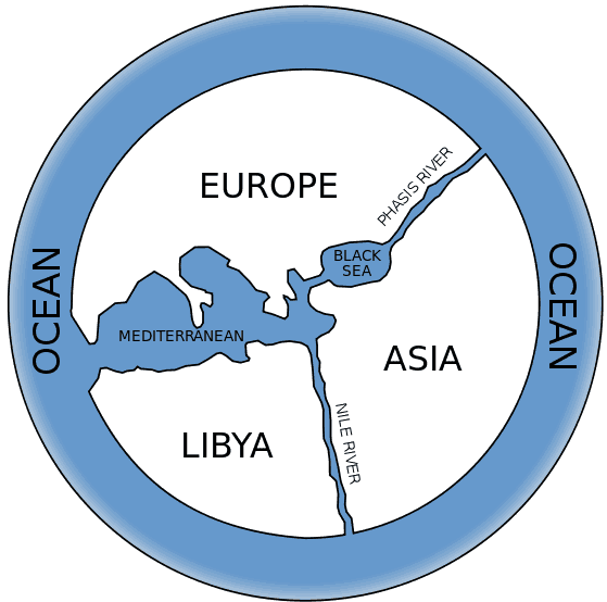 Map modeled after a depiction of Anaximander's World Map from An Introduction to Early Greek Philosophy by John Mansley Robinson, Houghton and Mifflin, 1968.
