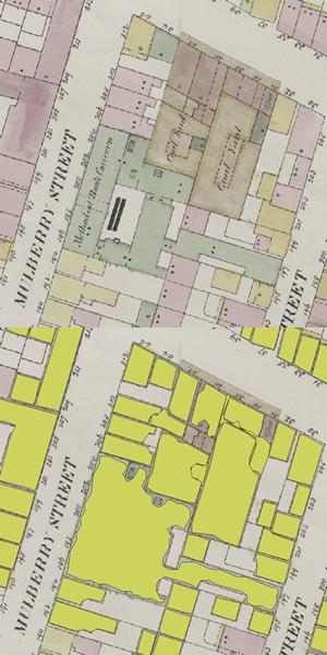 Sample polygon extraction results from a section of an insurance map.