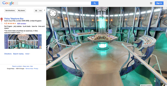 TARDIS on Google Maps.