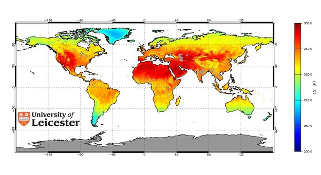 Map showing global monthly land surface temperature from Envisat's AATSR for July 2006. Source: University of Leicester.
