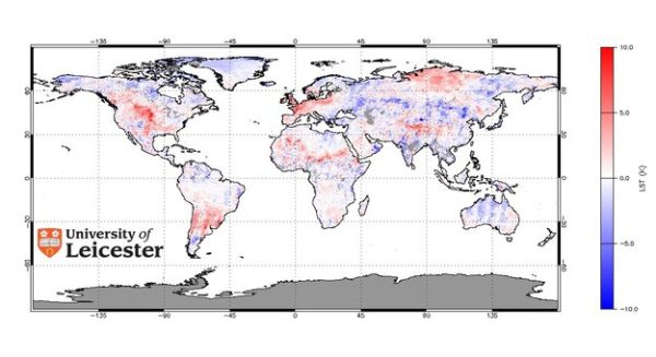 Global land surface temperature anomaly from Envisat's AATSR for July 2006 compared to average temperatures. Red depicts areas with a higher temperature than average, while blue shows cooler areas. The 2006 heatwave over Central and Northern Europe is clearly visible. Source: University of Leicester.