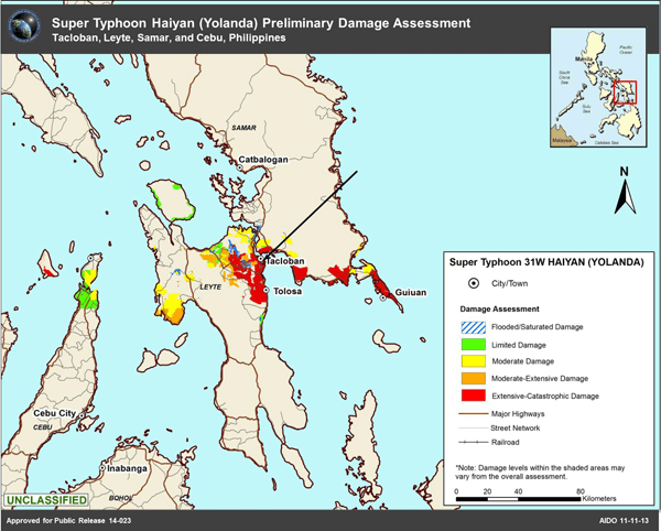 Map Showing Preliminary Damage Assessment of Super Typhoon Haiyan (Yolanda).  Source: National Geospatial-Intelligence Agency 11/11/13.