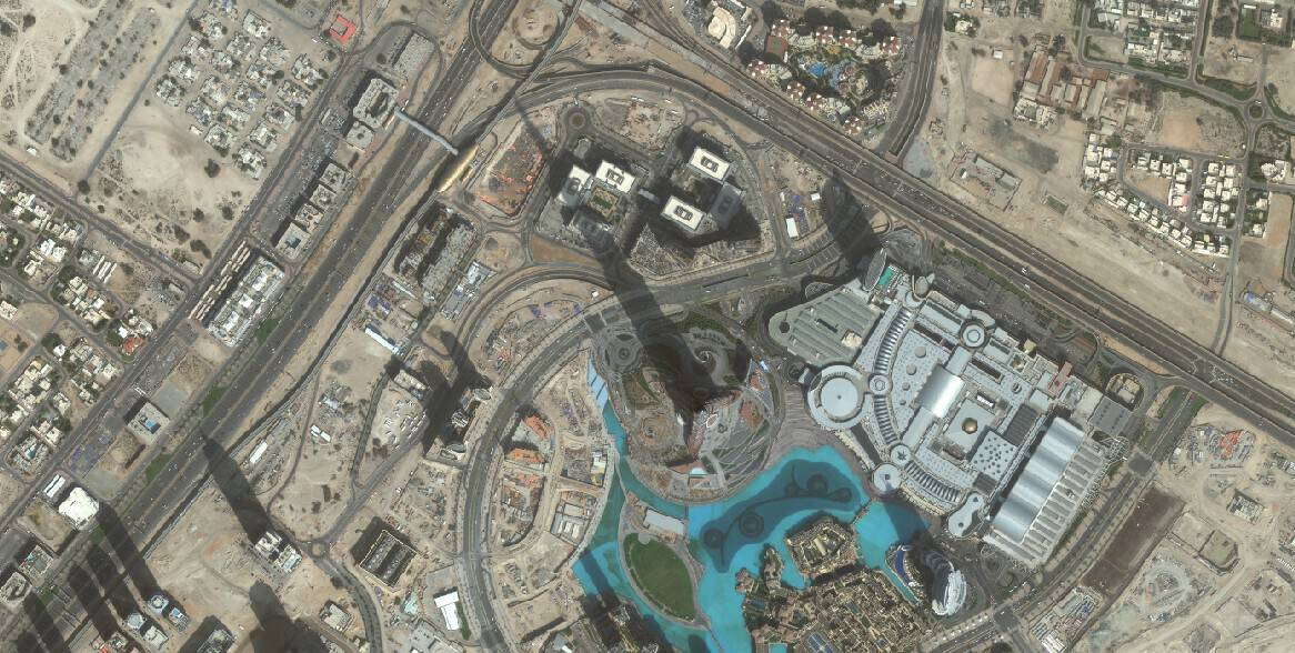 Figure 1 - WorldView-2 image of the Burj Khalifa, taken 02/14/2010. Courtesy of DigitalGlobe.