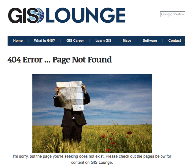 Humorous GIS Related 404 Pages