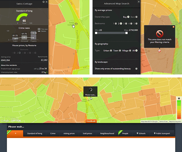 Figure 2 - Feedback on different user actions: mouse hover, area filtering, and click on the map.