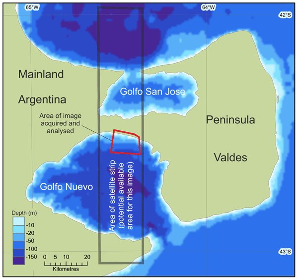 Research area in Golfo Nuevo used for the remote sensing study.