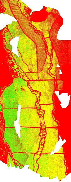 NDVI image taken with small unmanned aerial system Stardust II. Mosaic of 299 images acquired in one flight.