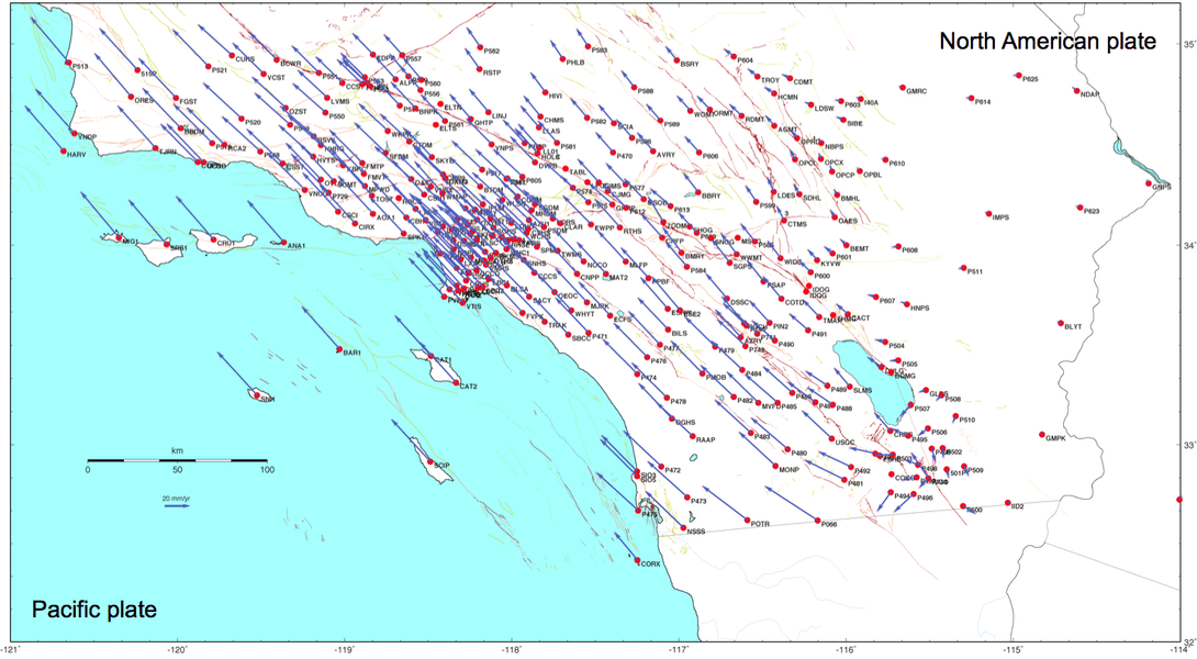Current GPS permanent station network in Southern California, showing movement of locations throughout the region because of the large scale movement of the Pacific Plate relative to the North American Plate.