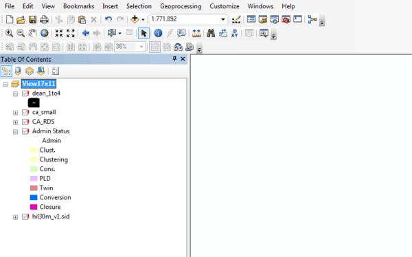 When ArcMap is unable to load GIS data, a red exclamation mark is listed next to each missing layer.