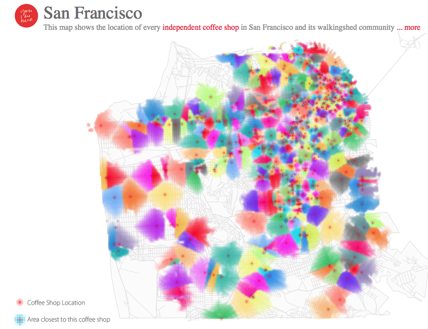 Map of every independent coffee shop in San Fracisco and the walking-shed community associated with it.