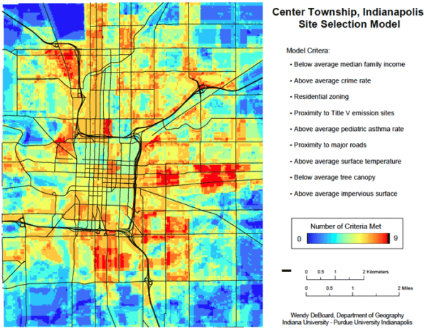 Map showing results of site selection analysis.  Red indicates areas with the highest matching criteria and blue shows areas that rank lowest in meeting all the criteria.