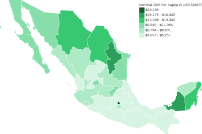 A thematic map showing the GDP per capita (nominal, 2007) of the Mexican States.