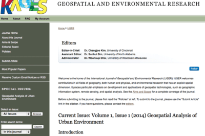 Inaugural Issue of the International Journal of Geospatial and Environmental Research