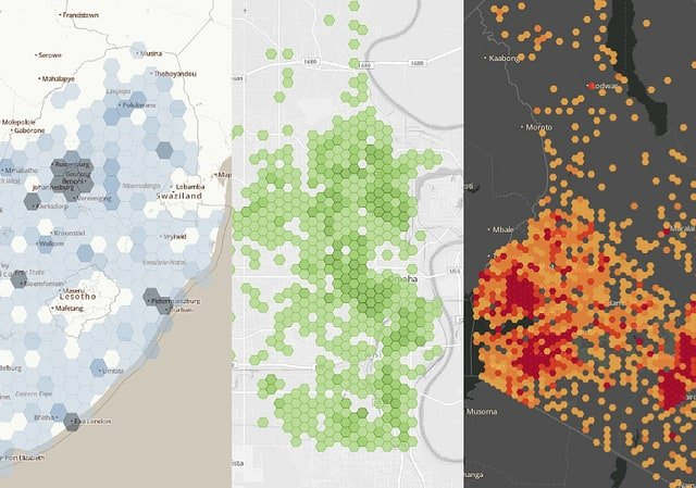 Examples of using GIS to bin point location data for South Africa, Nebraska, and Kenya. Source: MapBox