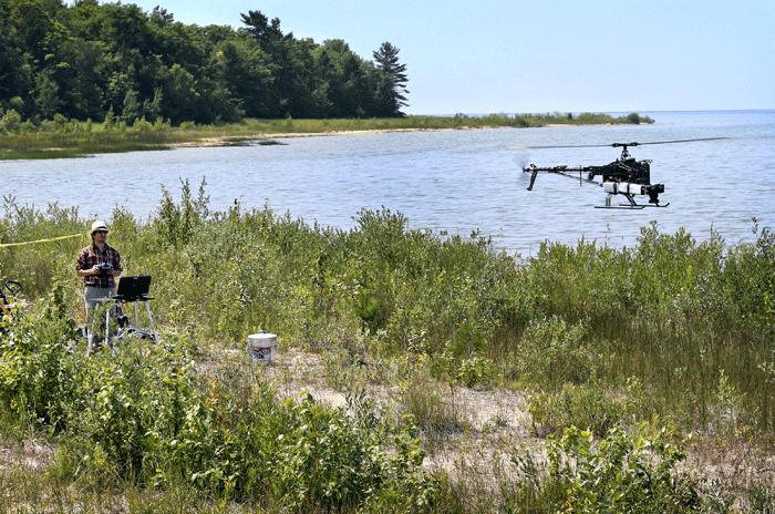Benjamin Heumann and the UAV. Photo: Heumann, Central Michigan Press Release.