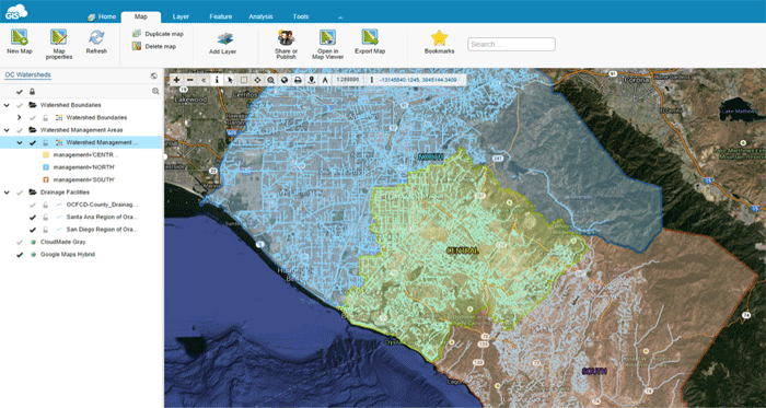 Orange County Watershed Map in GIS Cloud's Map Editor