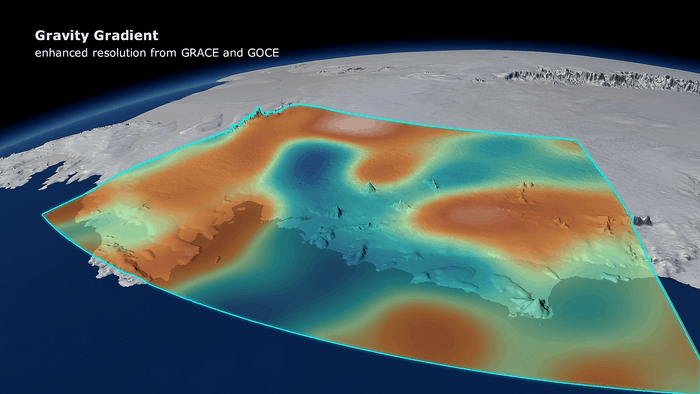Changes in Earth's gravity field resulting from loss of ice from West Antarctica between November 2009 and June 2012 (mE = 10–12 s–2). A combination of data from ESA's GOCE mission and NASA's Grace satellites shows the 'vertical gravity gradient change'.