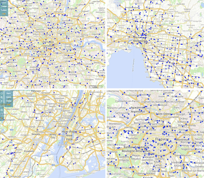 Map of fuel stations for the cities of (upper left), (upper right), (lower left), and (lower right)