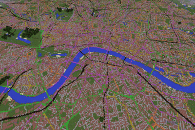 London from above in GB Minecraft 2.0. Source: Ordnance Survey.