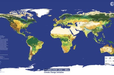 This global land-cover map was created using data from the Envisat mission for the 2010 epoch (2008–12). This is the most recent data product from the Climate Change Initiative (CCI) Land Cover team led by the Université catholique de Louvain, showing 22 different types of global land cover classes, plus 14 regional land cover classes. Source: ESA/CCI Land Cover/Université catholique de Louvain.