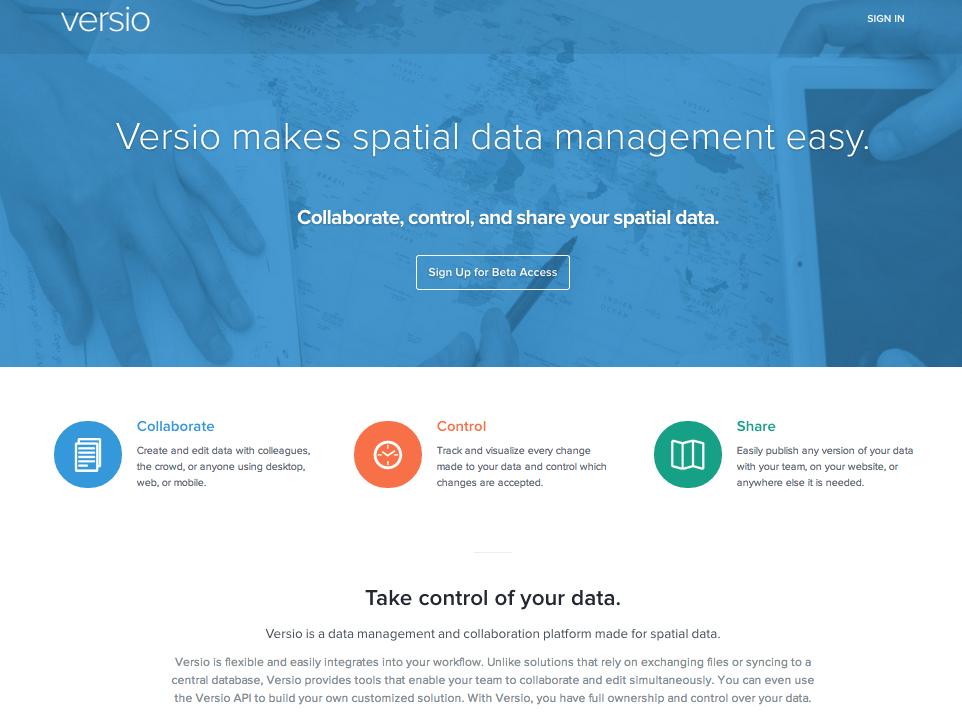 Versio website screenshot