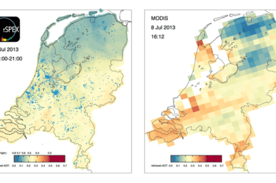 iSPEX map compiled from all iSPEX measurements performed in the Netherlands on July 8, 2013, between 14:00 and 21:00. Each blue dot represents one of the total of 6007 measurements that were submitted that day. At each location on the map, the 50 nearest iSPEX measurements were averaged and converted to Aerosol Optical Thickness, a measure for the total amount of atmospheric particles. This map can be compared to the AOT data from the MODIS Aqua satellite, which flew over the Netherlands at 16:12 local time. The relatively high AOT values were caused by smoke clouds from forest fires in North America, that were blown over the Netherlands at an altitude of 2-4 km. In the course of the day, the northerly winds brought clearer air to the northern provinces.