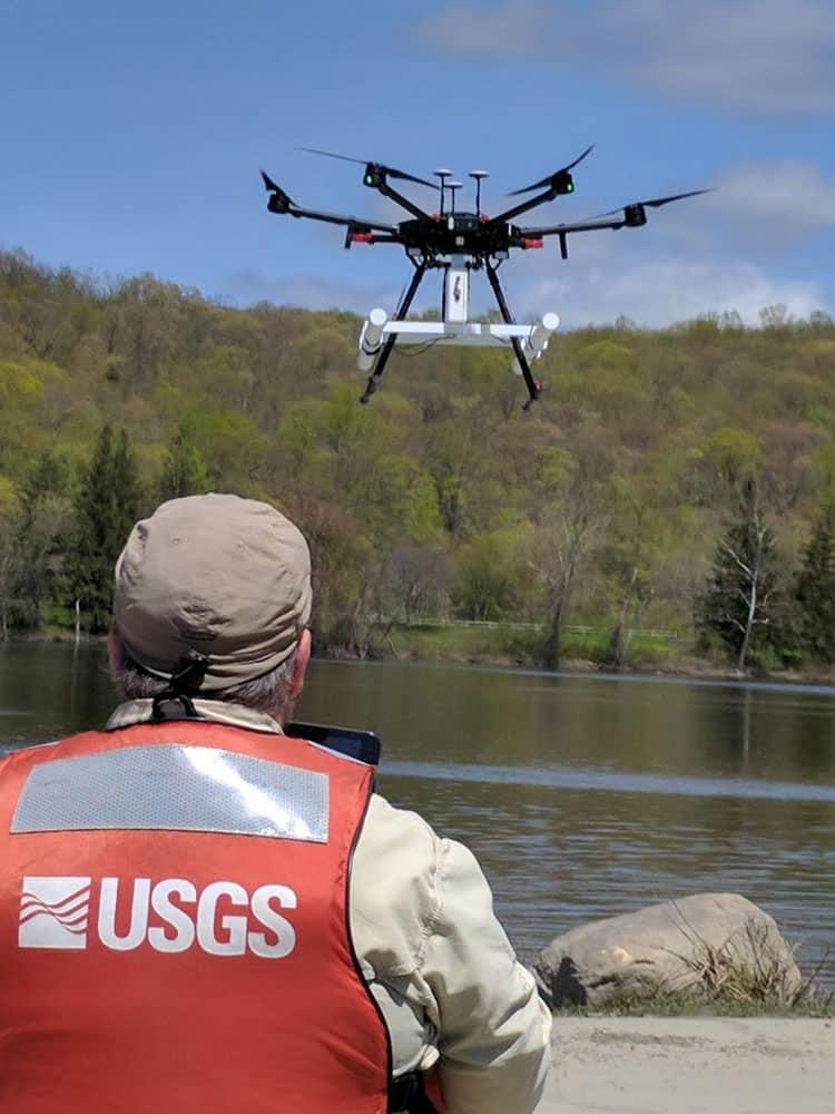 USGS tests drone-based ground-penetrating radar.  Photo: Carole Johnson, USGS. Public domain.