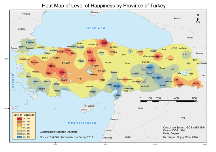 where are the residents of turkey the happiest