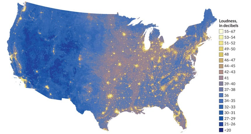 The Sound of Silence A Noise Map of the US GIS Lounge
