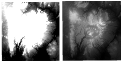 Default singleband contrast enhancement (left) and more accurate contrast enhancement (right).