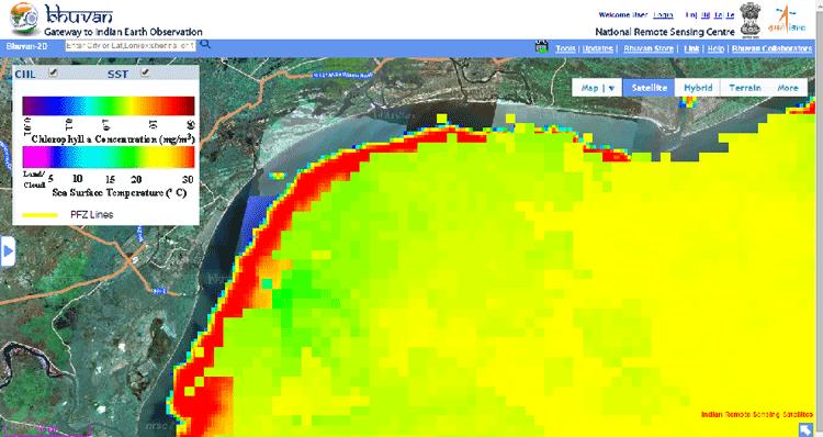 Chlorophyll Concentration & Sea Surface temperature (Potential Fishing Zone of Vadarevu coast, Andhra Pradesh)