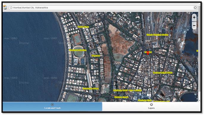 Mumbai city (via ISRO Bhuvan Mobile App)