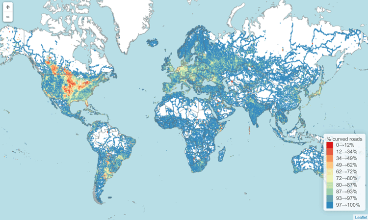How bendy are the worlds roads gis lounge straight roads map publicscrutiny Image collections