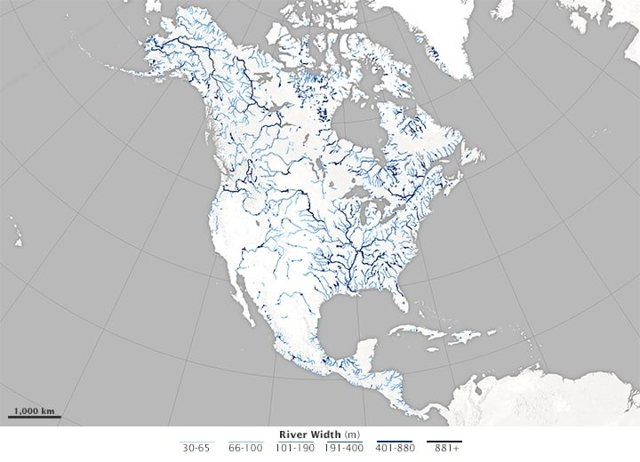 Map of river widths for North America. The darker the blue, the wider the river. Source: NASA.